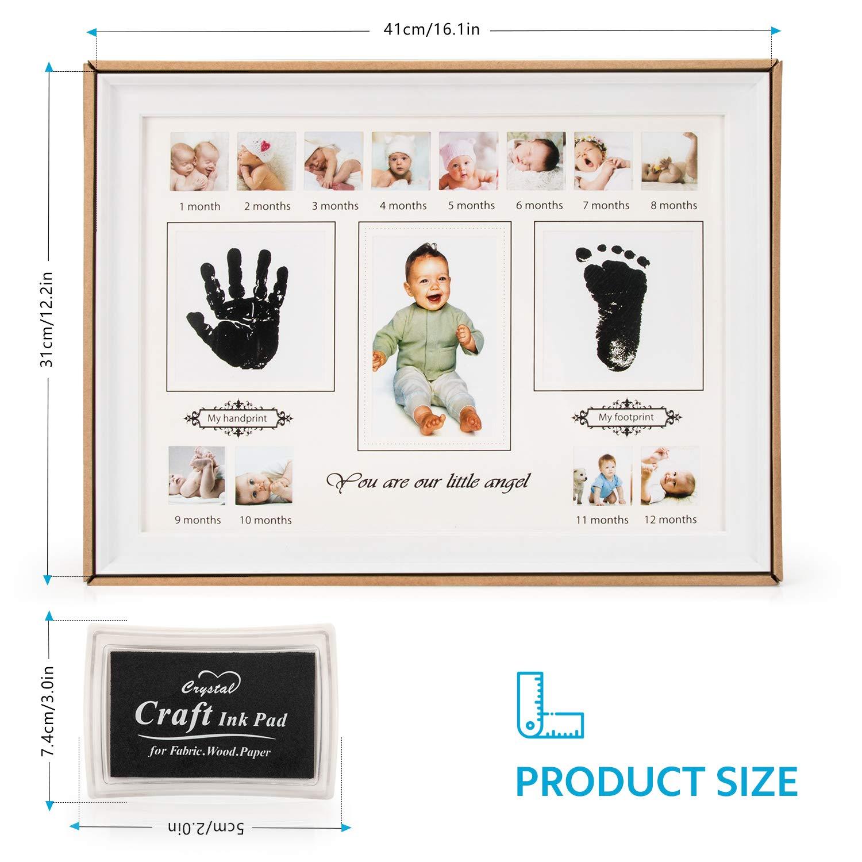 Fotoalbum Baby Bilderrahmen Andenken Box f/ür Neugeborene RIZON Baby Handabdruck und Fussabdruck Set 12 Monate Fotos Babyparty Geschenk Mutter Geschenke