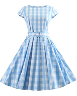 750b15b0bcc Women s 1950s Vintage Cap Sleeve V Neck Plaid Swing Dress with Pockets