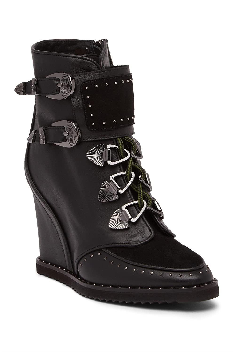 be3e568b8c3c9 Amazon.com | Ivy Kirzhner Scotty Black Leather Suede Lace Up Hiker  Concealed Wedge Ankle Boot (6) | Boots