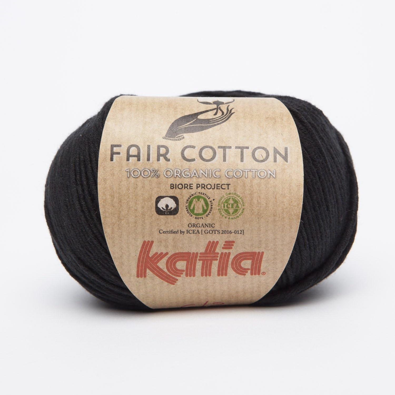 100/% Cotone Organico Gomitolo di Cotone Felpato 2017 Colore: Nero 50 g Katia
