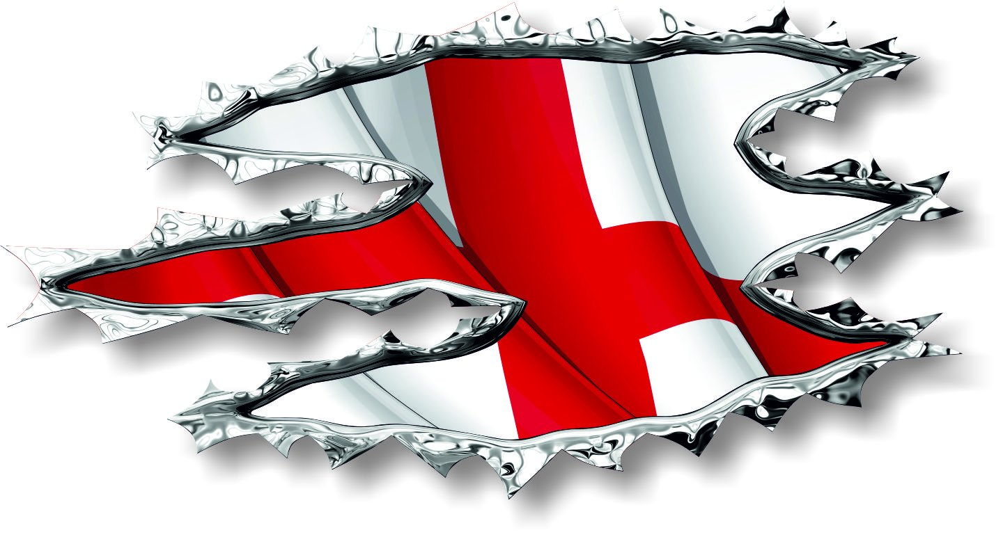 Vinyl sticker/decal Medium 120mm St George England ripped torn metal WAVING effect flag - facing right Graphic Effects