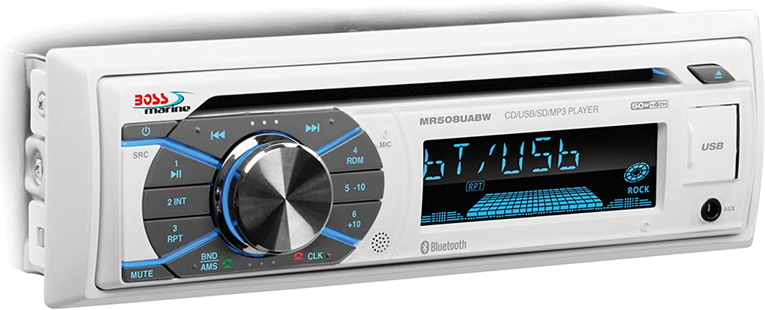 BOSS Audio Systems MR508UABW Marine Receiver - Weatherproof, Bluetooth Audio and Hands-Free Calling, CD, USB, MP3, AM/FM, Aux-in