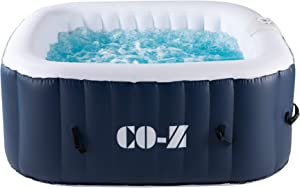 CO-Z 4-Person Inflatable Hot Tub with 120 Bubble Jets, Above Ground Pool 5x5ft, Portable Indoor Outdoor Hot Tub with Massaging Jets and Air Pump for Patio, Backyard, Garden