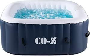 CO-Z 4-Person Inflatable Hot Tub 5x5ft, Above Ground Pool with 120 Bubble Jets and Air Pump, Portable Indoor Outdoor Hot Tub with Massaging Jets and Heater for Patio, Backyard, Garden