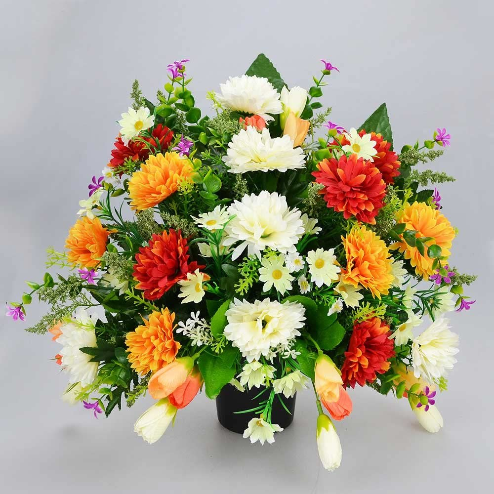 Artificial Grave Flowers Arrangements in Pot Memorial Vase Graveside Flat Back.