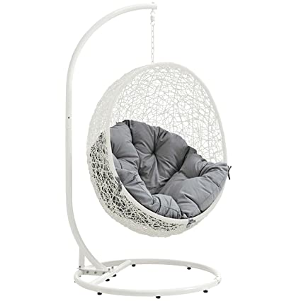 Peachy Modway Eei 2273 Whi Gry Hide Wicker Rattan Outdoor Patio Balcony Porch Lounge Egg Swing Chair Set With Stand White Gray Theyellowbook Wood Chair Design Ideas Theyellowbookinfo