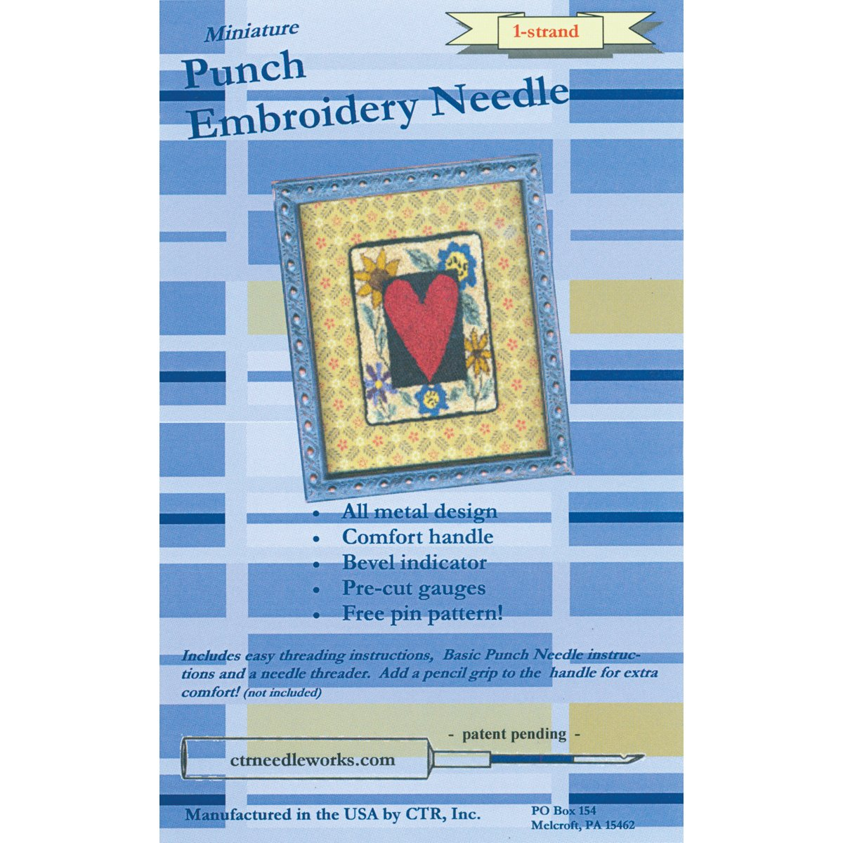 CTR CTR-NDL-1 Miniature Punch Embroidery Needle, 1-Strand, Blue