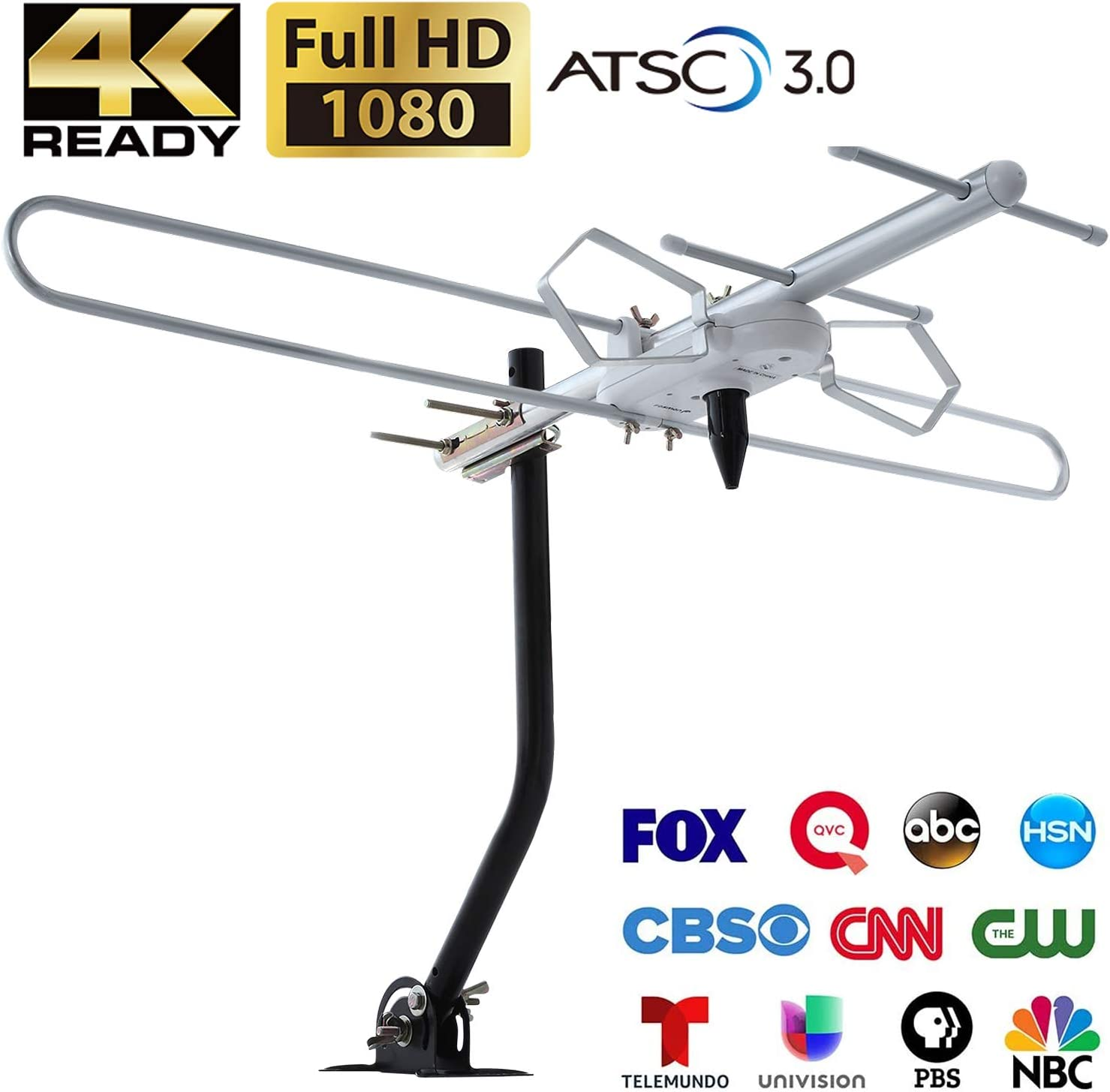 Fosmon Attic TV Antenna Up to 120 Miles Range (2020 Version), Supports 4K Ultra HD (ASTC 3.0) 1080P Digital HDTV VHF UHF, Outdoor/Indoor Roof Long Range Directional HDTV Antenna with Mounting Pole