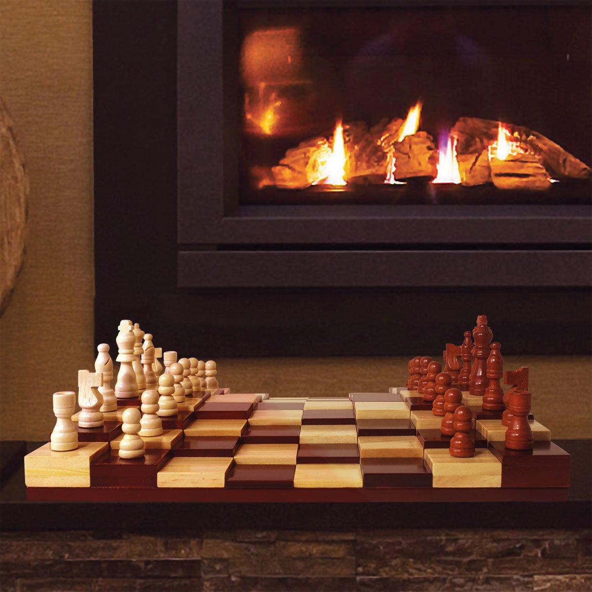 3D Schachbrett 32 Schachfiguren Multi-Level Holz Schachspiel Set Deluxe Brettspiel Blu Devil