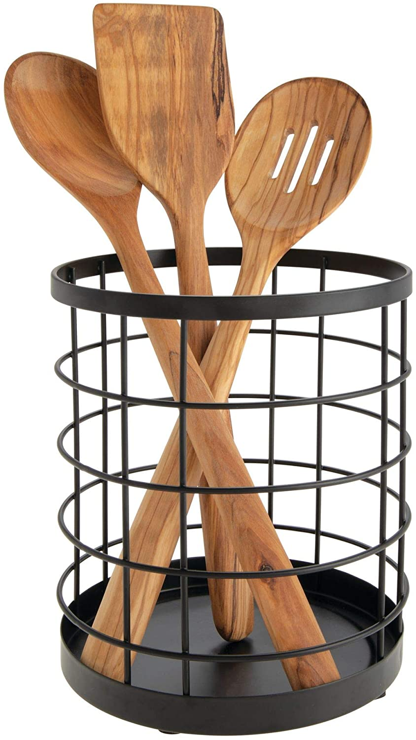 iDesign Kitchen Utensil Holder, Metal Wire Utensil Storage Basket, Practical Kitchen Utensil Organiser for Wooden Spoons, Spatulas and More, Matte Black, 15.2 x 15.2 x 17.8 cm