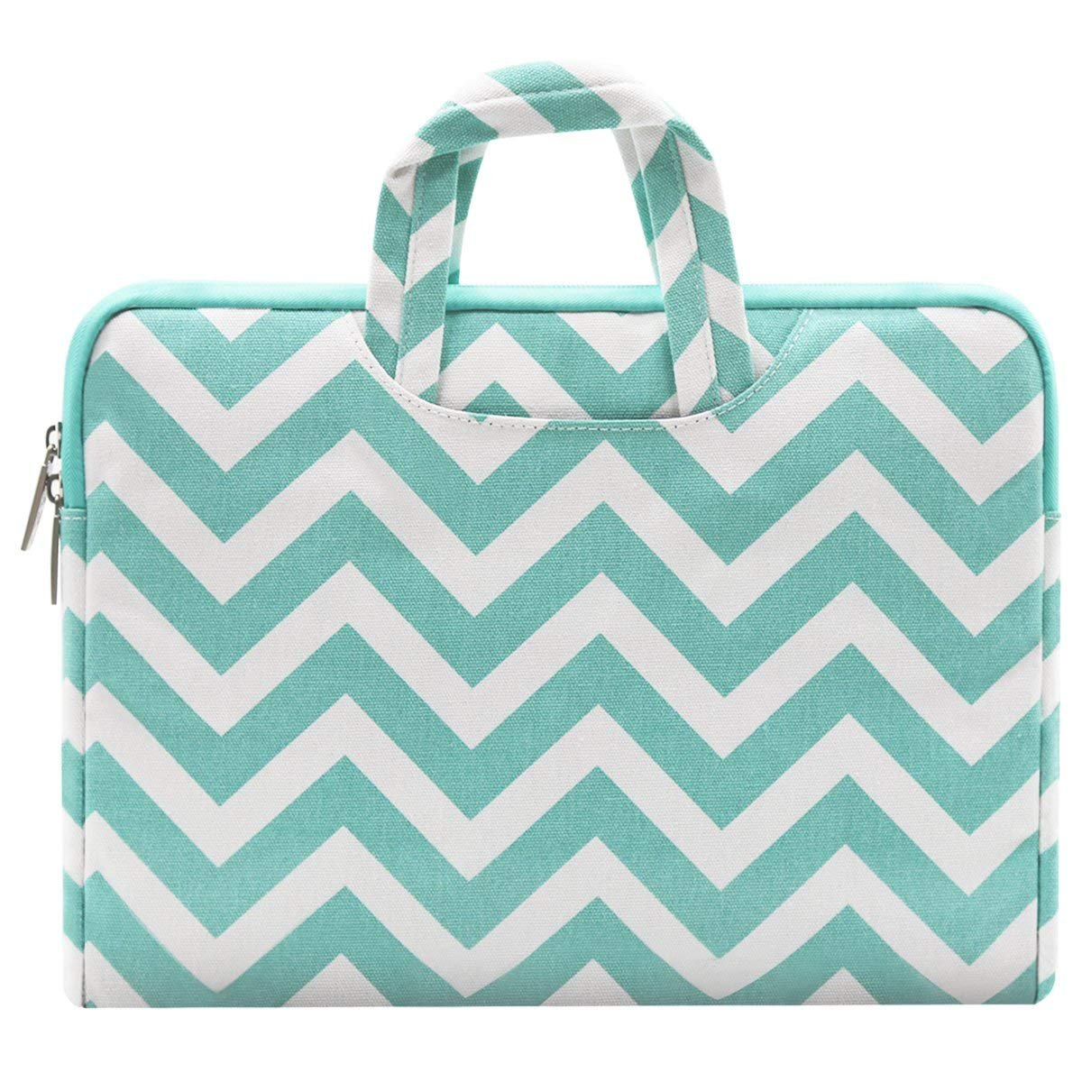 MOSISO Laptop Briefcase Handbag Compatible 11 11.6 Inch MacBook Air Ultrabook Netbook Tablet Chevron Style Canvas Fabric Carrying Sleeve Case Cover Bag Hot Blue