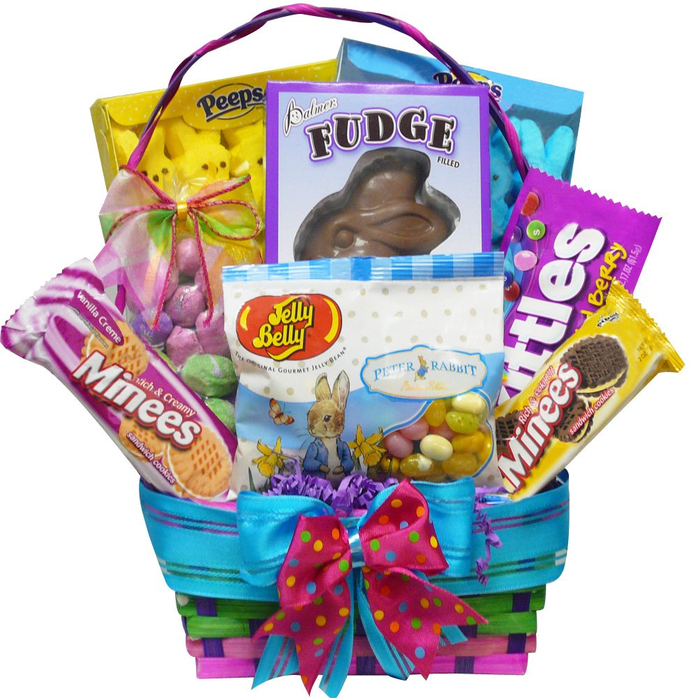 bunny treats chocolate and candy easter gift basket