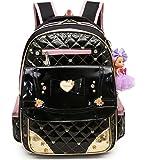 Debbieicy Waterproof PU Leather Cute Princess Bag Kids Backpack for Girls