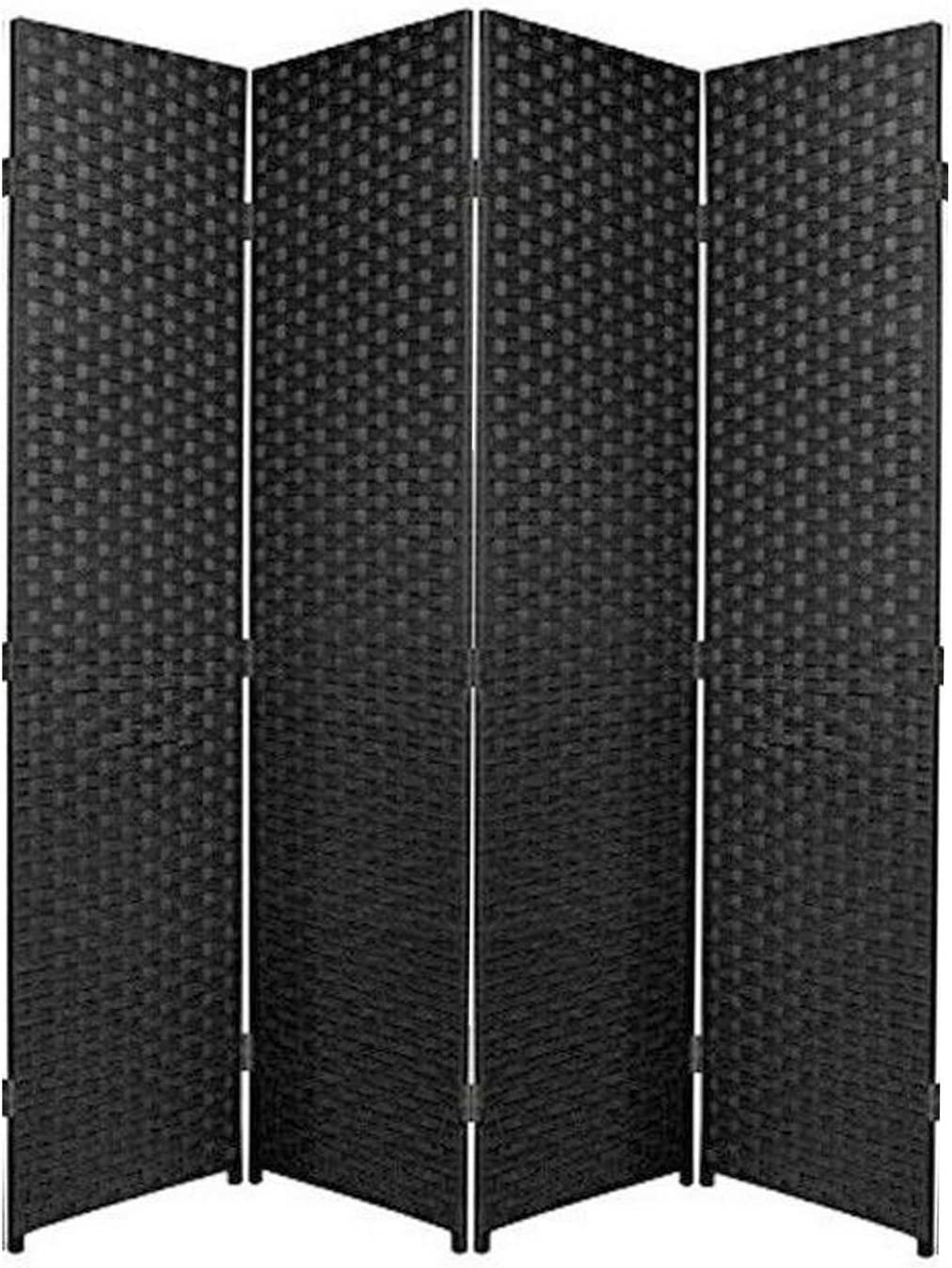 Biombo de rafia ideal para separar ambientes o habitaciones en color negro, haya, 3 Panel: Amazon.es: Hogar