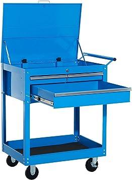 HomCom Carro de Herramientas tipo Caja o Armario de Almacenamiento Móvil Mueble con Ruedas para Taller Garaje o Hogar - Chapa de Acero - Color Azul – 68 x 46 x 84cm: