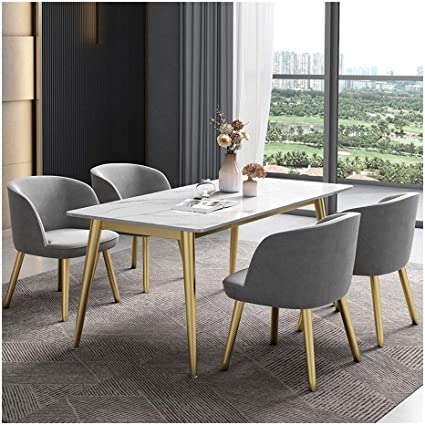 Anchor1 Elegant 5 Piece Marble Top Dining Table Set Marble Look Dining Set With Chairs Table Home Furniture Rectangular Garden Outdoor
