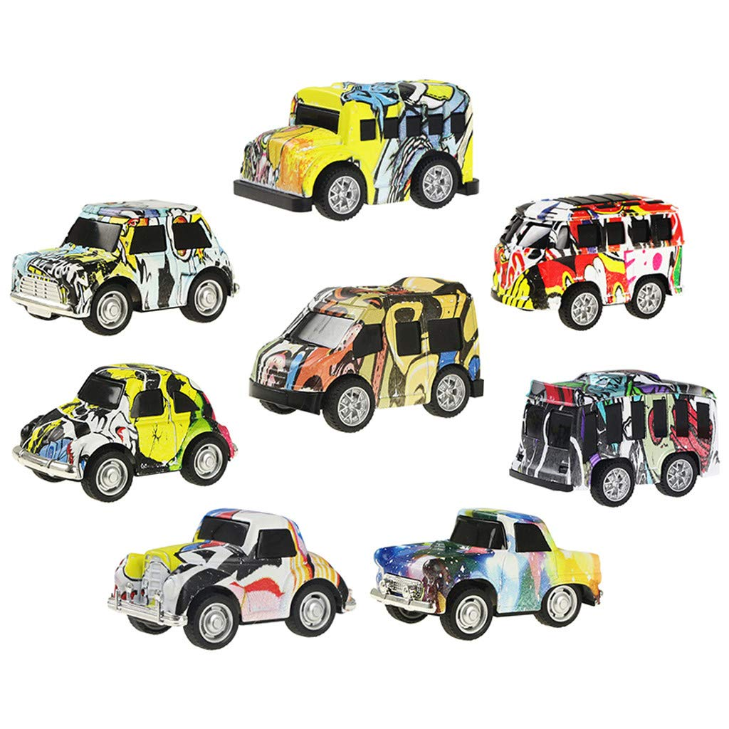 Jinjin Graffiti Pull Back Alloy Car 8 Multi-Color Model Mini Cognitive Sliding Toy Cars Fun Toy for Boys Girls Age 3, 4, 5 +Year Old (As Shown) by Jinjin