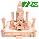 iPlay, iLearn Kids Building Block Toys Set, 72 PCS Wood Blocks, Natural Wooden Stacking Cubes, Structure Tile Games, Educational and Activity Toy for Age 3, 4, 5 Year Olds Up, Children, Toddlers