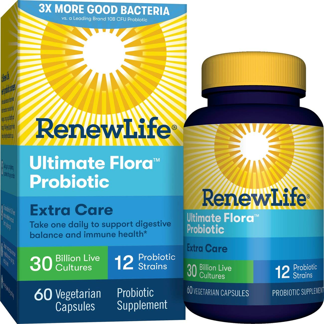 Renew Life Adult Probiotic - Ultimate Flora Extra Care, Shelf Stable Probiotic Supplement - 30 billion - 60 Vegetable Capsules (Packaging May Vary)