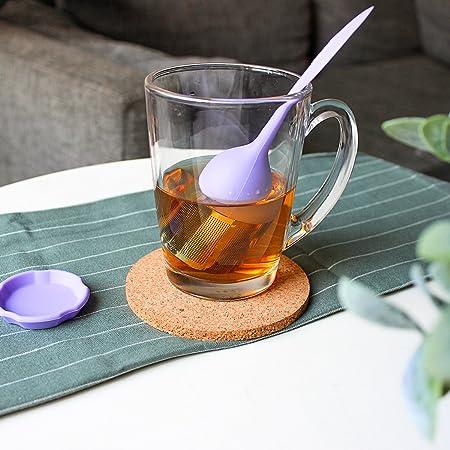 M /& M MM Acier Inoxydable Infuseur /à th/é avec Soucoupes Passoire en Silicone Violet