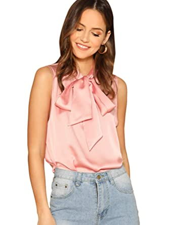 f94cb540ce4be6 SheIn Women's Solid Bow Tie Neck Sleeveless Casual Work Blouse Shirts Tops  X-Small Pink