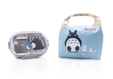 9d406e216499 Finex My Neighbor TOTORO Blue Zippered Insulated Lunch Bag + Gray Stainless  Steel Compartment Bento Box Set for kids school picnic