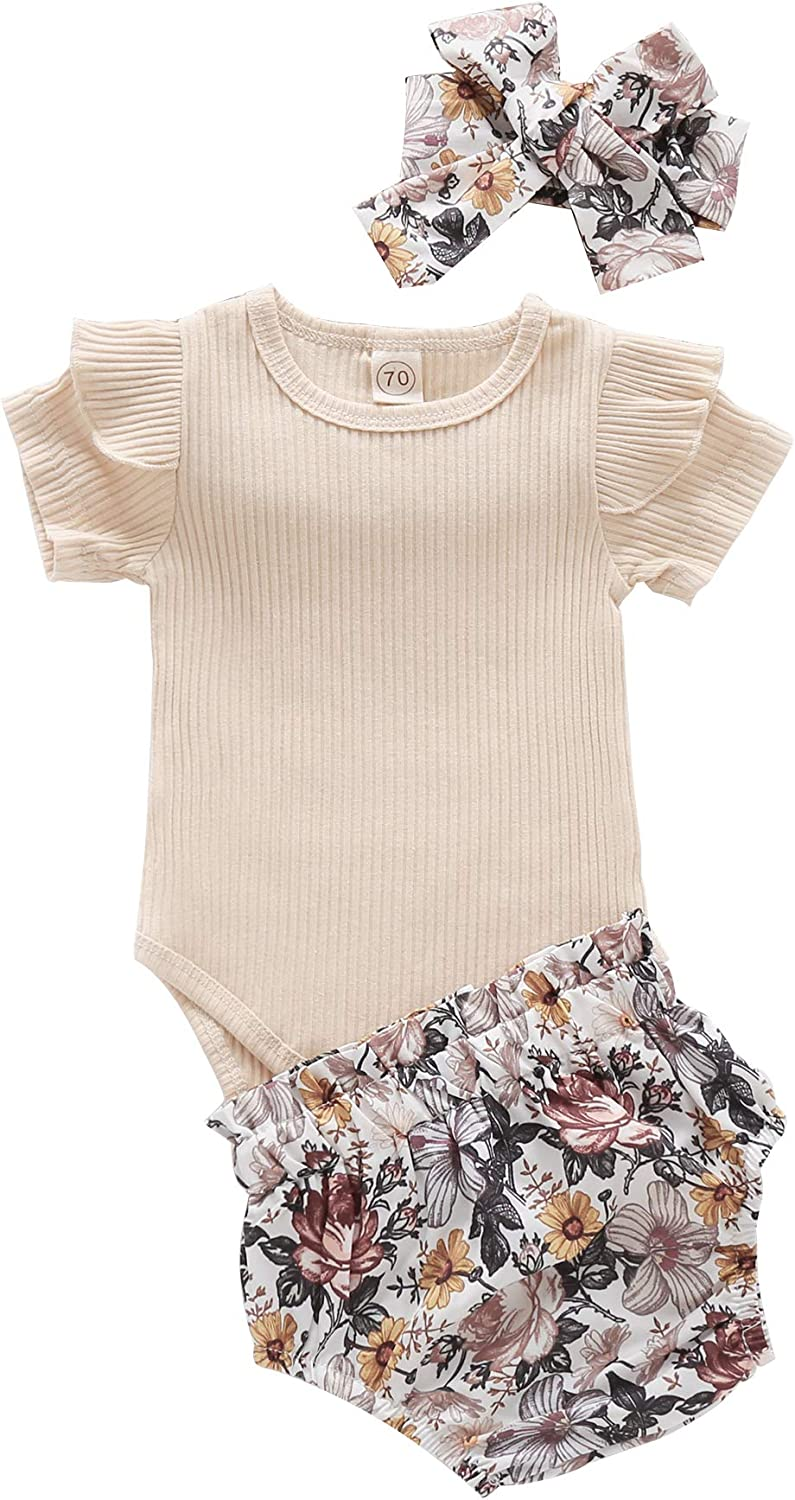 Newborn Baby Girl Clothes Sunflower Romper Floral Ruffle Shorts Pants Set with Headband 3Pcs Summer Outfits