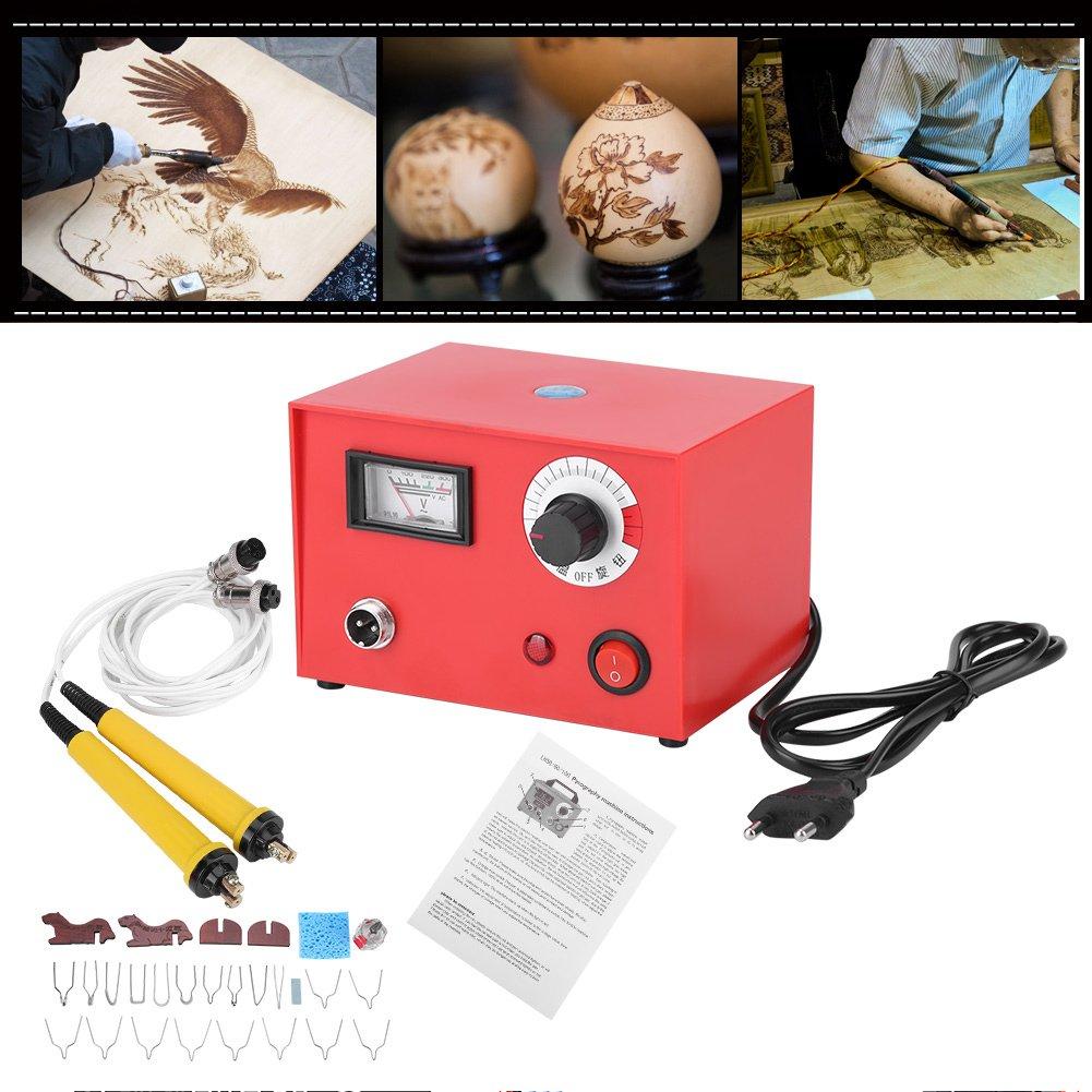 Pluma de Pirograbado de Madera Kit de Máquina de Pluma Multifuncional 220V AC Kit de Pirograbador con 20pcs Puntas y 1pc Pluma DIY Artesanía (EU Plug): ...
