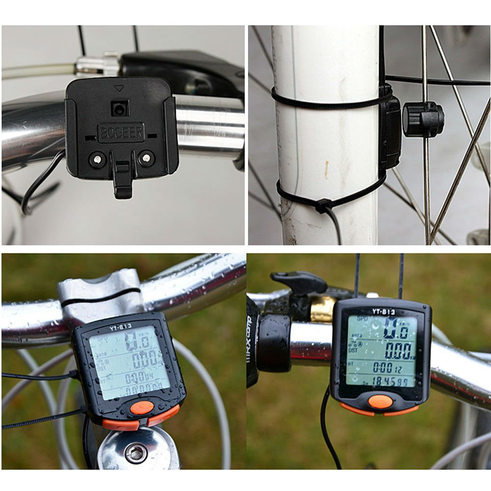 Hangang Bike Speedometer, Bike Speedometer and Odometer Waterproof Wireless Bicycle Bike Computer and Cycling Odometer with Automatic Wake-up Multi-Function LCD Backlight Display YT-813