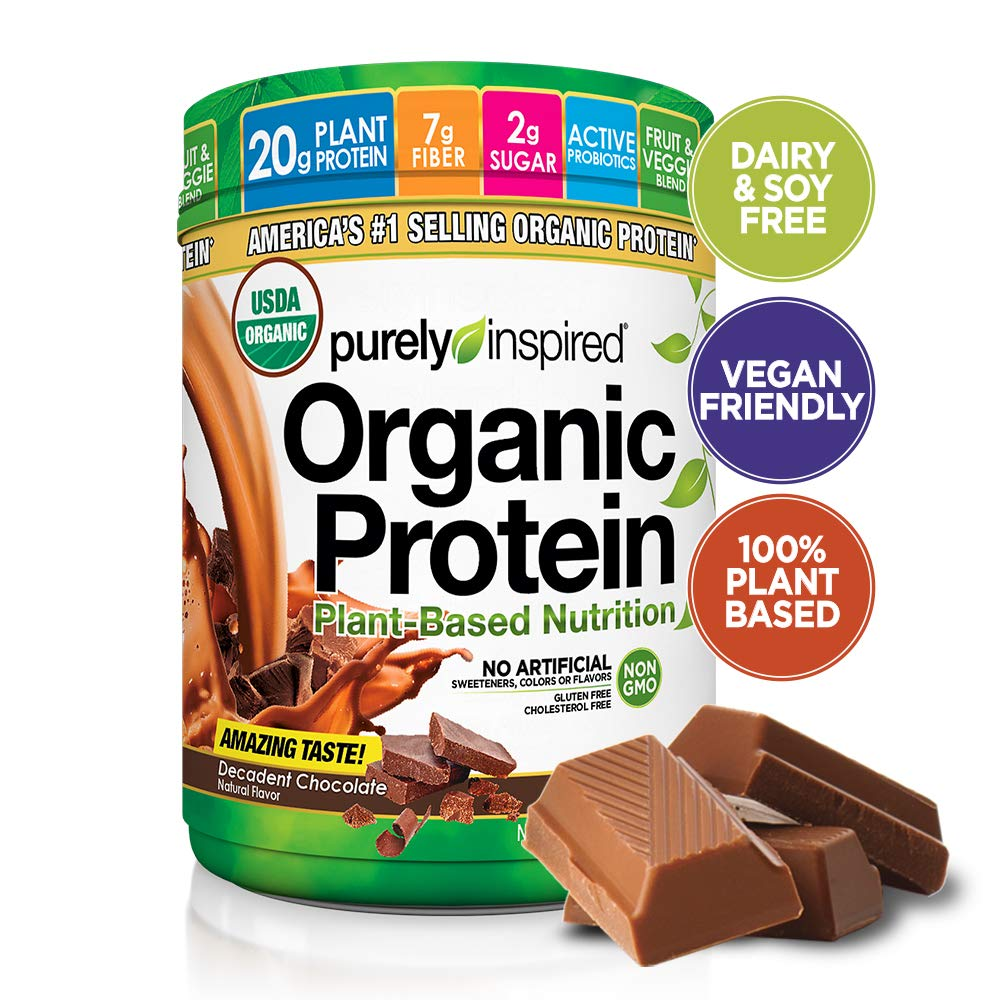Purely Inspired Organic Protein Shake Powder, 100% Plant Based with Pea & Brown Rice Protein (Non-GMO, Gluten Free, Vegan Friendly), Decadent Chocolate, 1.5lbs by Purely Inspired (Image #1)