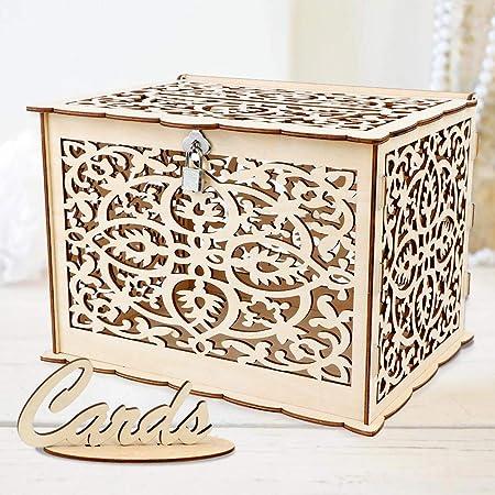 Aytai - Hucha de madera rústica con cerradura y tarjeta de regalo, caja de regalo para recepción, baby shower, boda, aniversario, decoración de fiesta: Amazon.es: Hogar