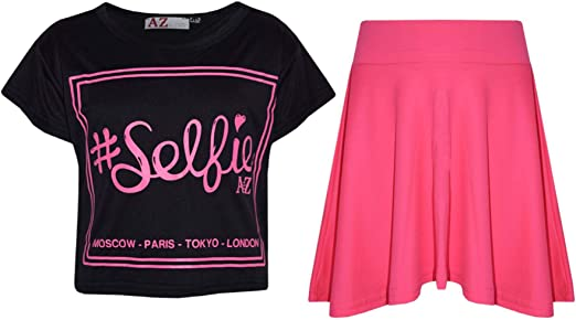 A2Z 4 Kids Girls Top Kids Selfie Print Stylish Crop Top /& Skater Skirt Set