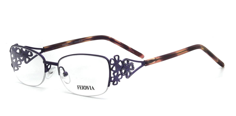 Oval Lens Half Rim Women Metal eyeglasses with Hollow Flower Pattern FVG7002 (BLACK) Lixin Glasses
