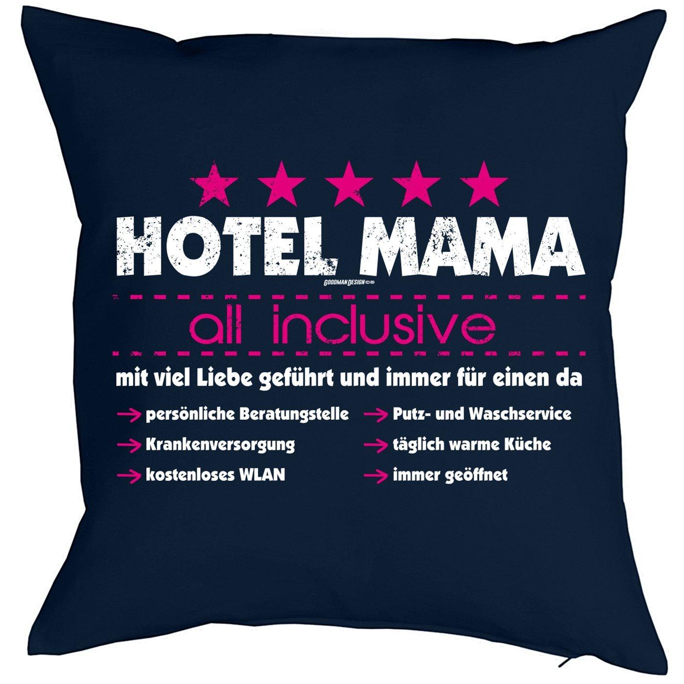 Weihnachtsgeschenk für Mama Kissen mit Füllung Hotel Mama all ...