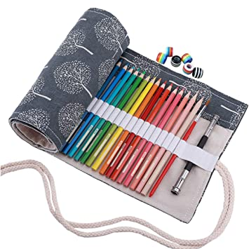 Abaría - Bolso de lapices bolsa de almacenamiento hecho de mano, estuche enrollable para colores lápices 48 agujeros gris: Amazon.es: Electrónica