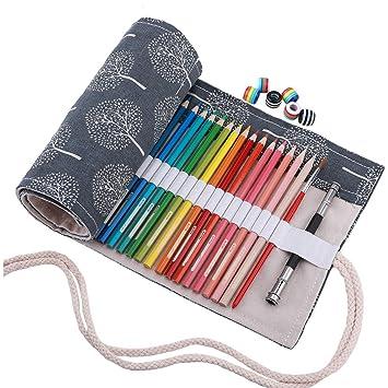 Abaría - Bolso de lapices bolsa de almacenamiento hecho de mano, estuche enrollable para colores lápices 48 agujeros gris