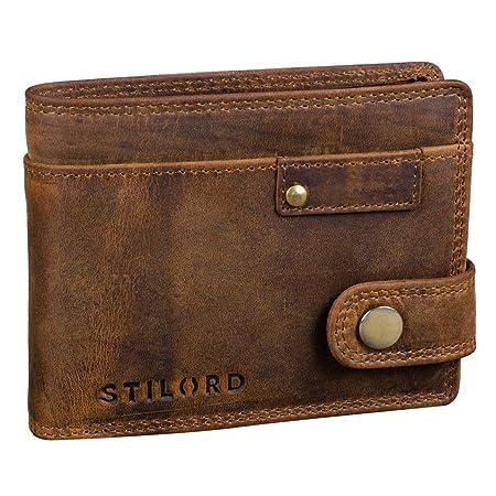 STILORD Finley Cartera de Cuero para Hombres Protección RFID y NFC con Botón Pulsador Billetera con protección, Color:marrón - Medio: Amazon.es: Equipaje