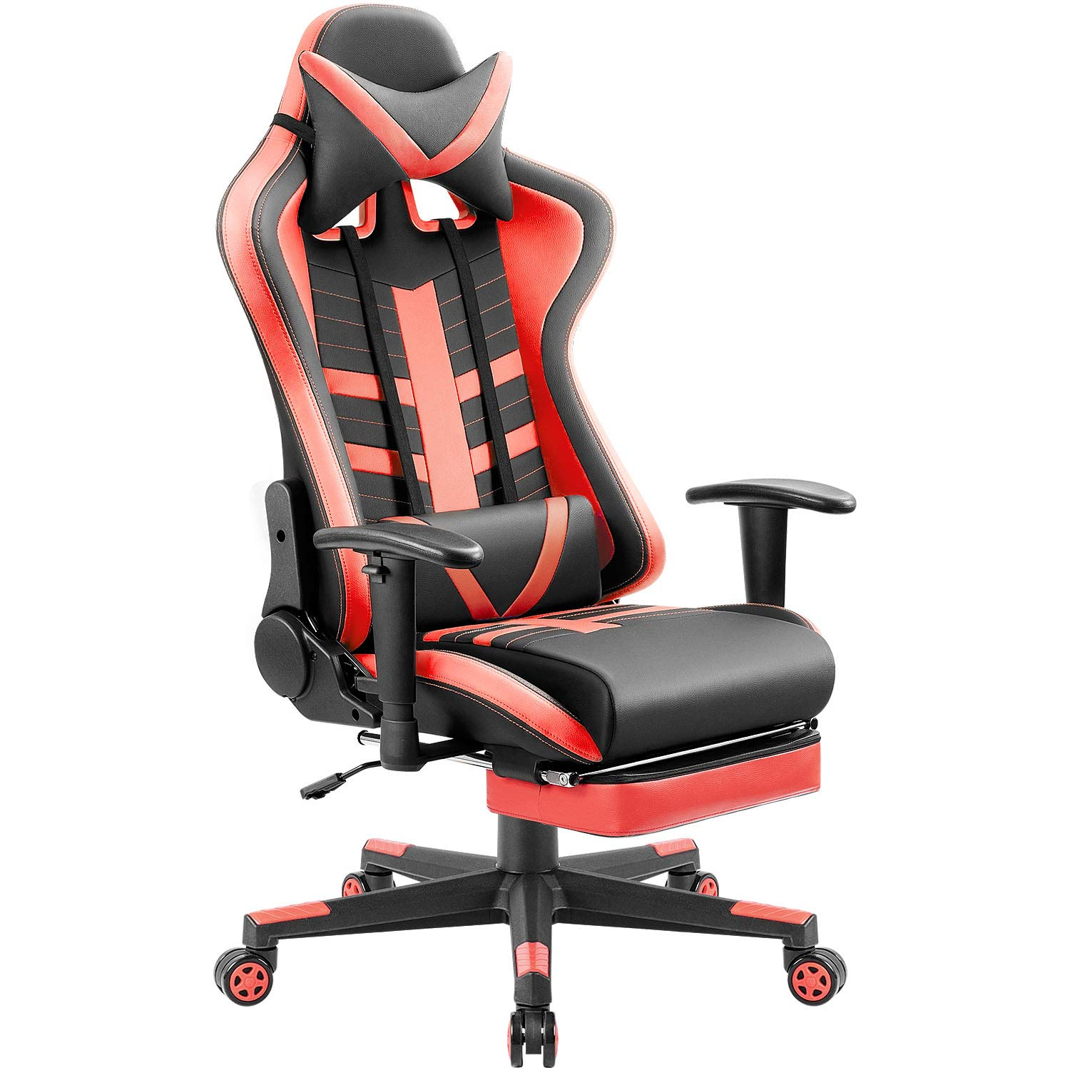 Homall Ergonomic High-Back Racing Chair   Leather Bucket Seat, Headrest, Footrest and Lumbar Support   Black & Blue