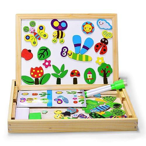 Puzzles Enfant en Bois Magnétique, Dookey Jigsaw avec Tableau Noir de Chevalet à Double Face Jouets Educatif pour Bambin Enfants Fille 3 Ans 4 Ans 5 Ans - Env 100 Pièces (Les insectes)