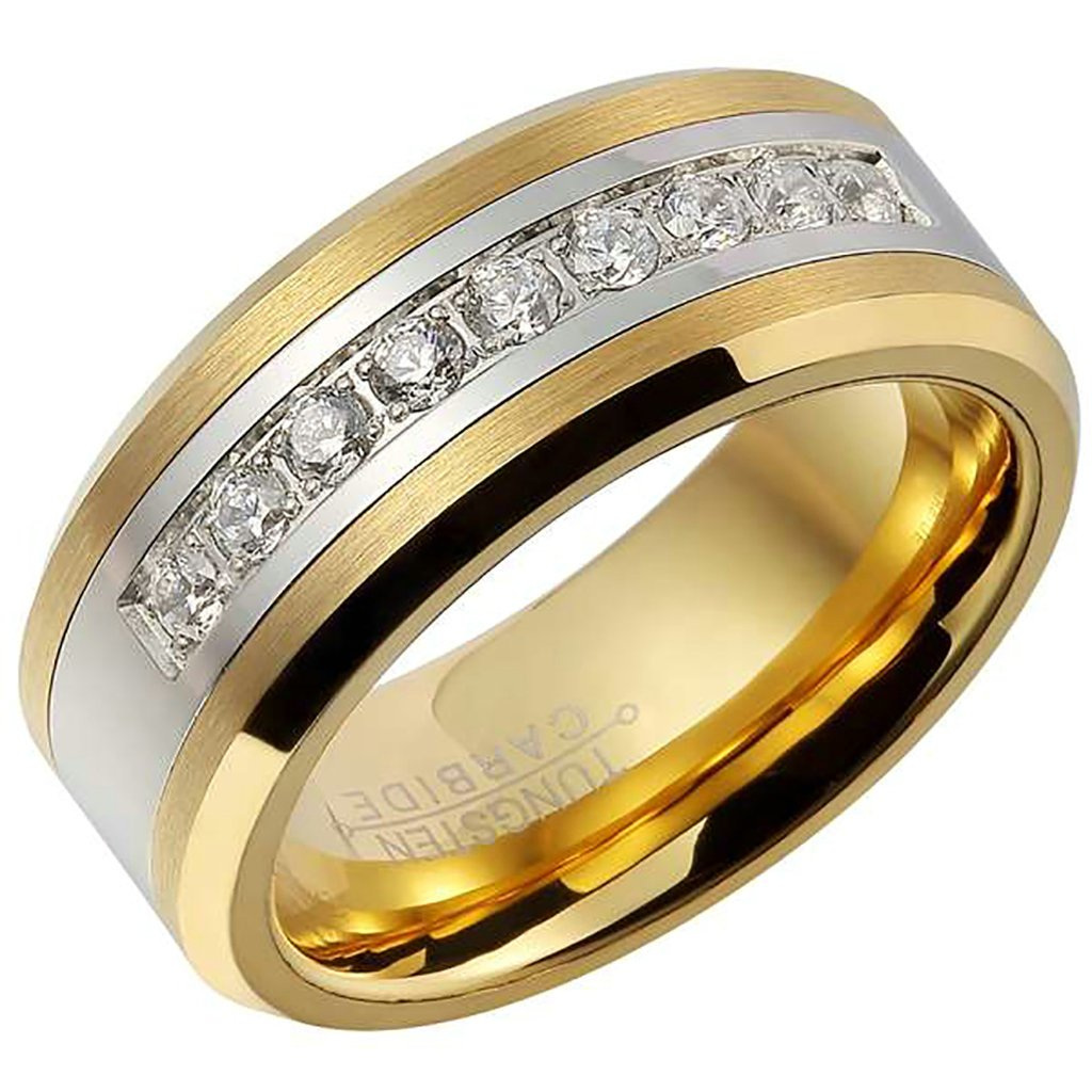 Tianyi Men's Tungsten Carbide Ring Wedding Engagement Band 8mm Comfort Fit Channel CZ Set TAISHIJIA318