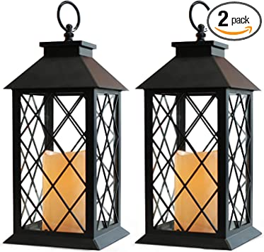 Smart Home LED Lantern Set Of 2 New In Box Battery Operated Black Outdoors Camp