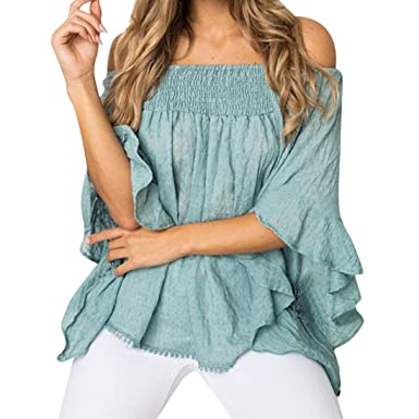 23bc5fac160cf8 Tshirt Oberteile Damen Elegant Sommer Kurzarm Unregelmäßige Schulterfrei  Langarm T-Shirt Tops Bluse: Amazon.de: Bekleidung