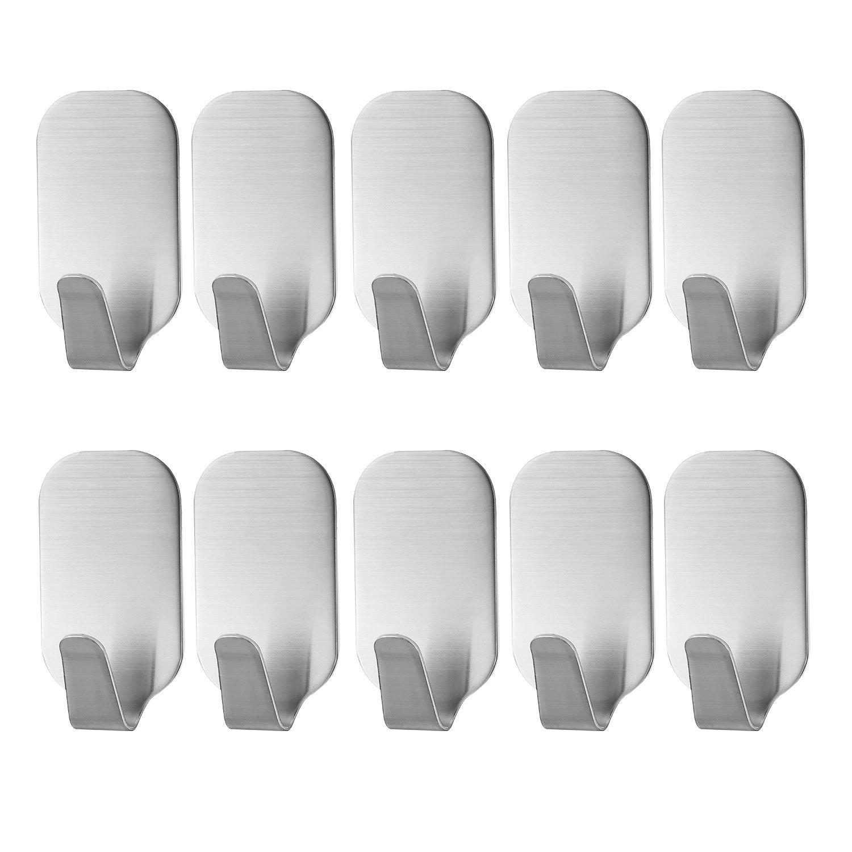 Paquete de 10 Ganchos de Acero Inoxidable Auto Adhesivos Toalleros de Ganchos Impermeable de Pared y Puerta para Cocina, Bañ o, Oficina Baño Hotop