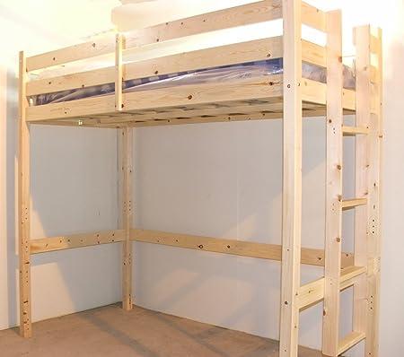 Loft Bunk Bed With Memory Foam Mattress 3ft Single Wooden High
