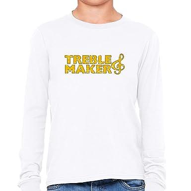 6b6c956aae289d Treble Maker - Bright Yellow Large Print Music Boy s Long Sleeve T-Shirt