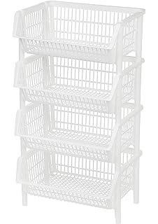 Genial IRIS USA, Inc. Jumbo Stacking Basket, 4 Pack, White