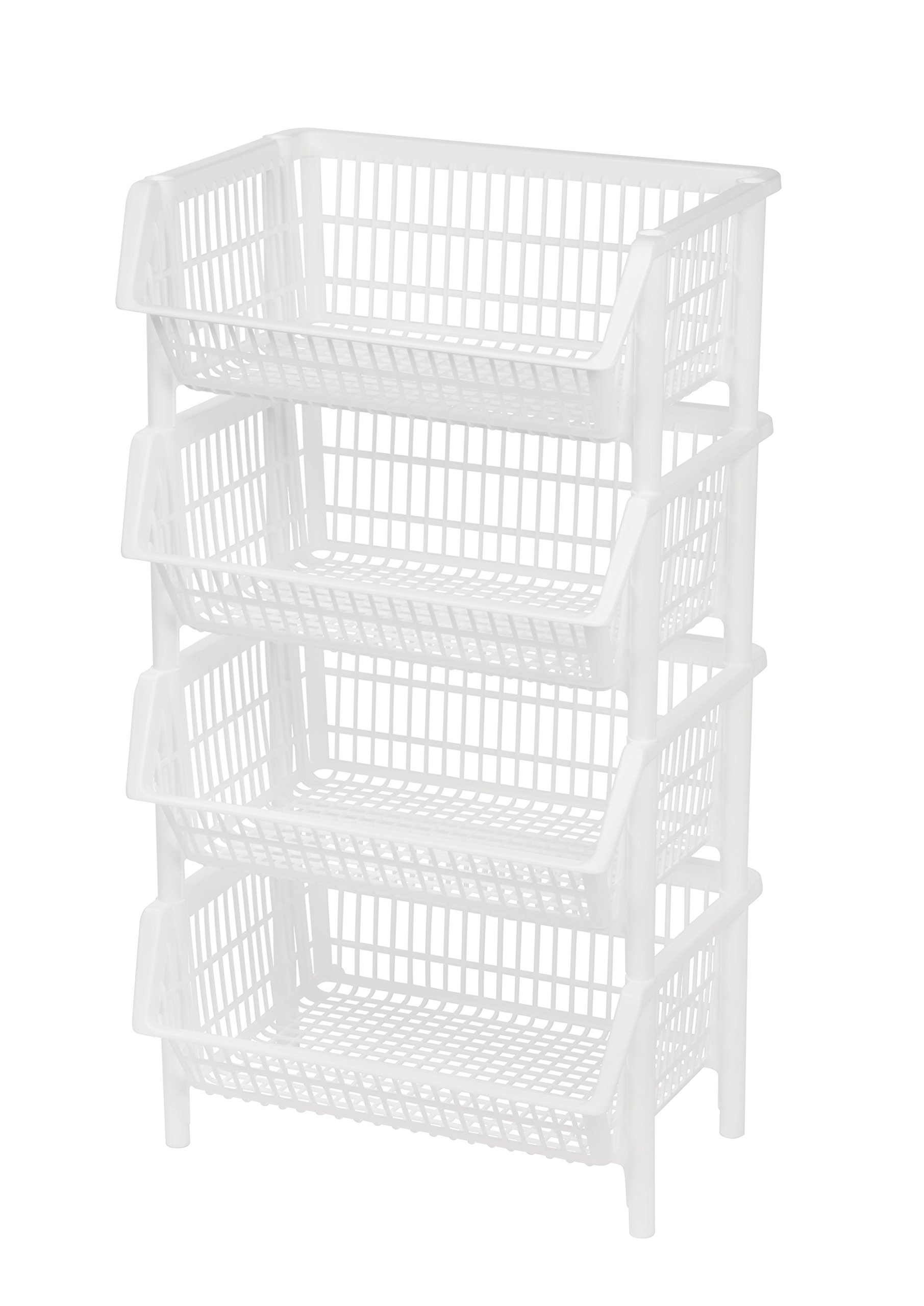 Jumbo Stacking Basket, 4 Pack, White