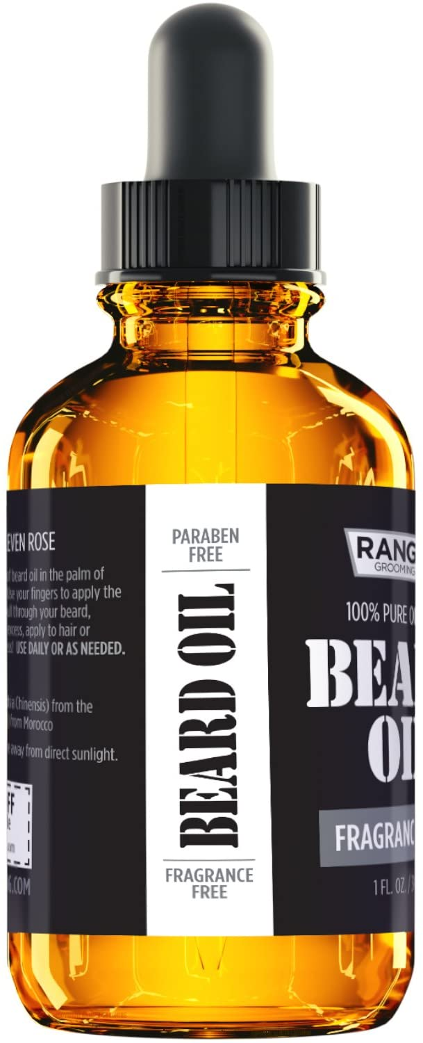 Fragrance Free Beard Oil & Leave In Conditioner, 100% Pure Natural for Groomed Beards, Mustaches, & Moisturized Skin 1 Oz By Ranger Grooming Co By Leven Rose (Beard Oil)