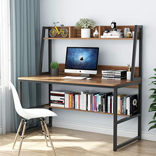 Amazon.com: Tribesigns Computer Desk with Hutch and Bookshelf, 47 Inches Home Office Desk with Space Saving Design for Small Spaces (Retro Brown): Furniture & Decor