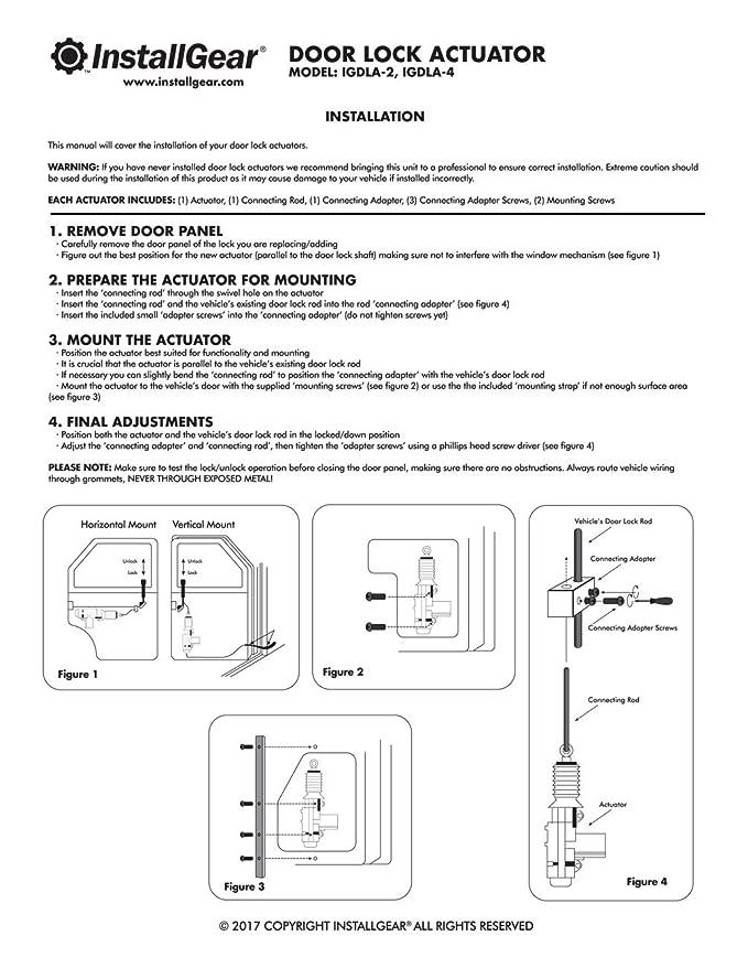 InstallGear Universal Car Power Door Lock Actuator 12-Volt Motor (4 on